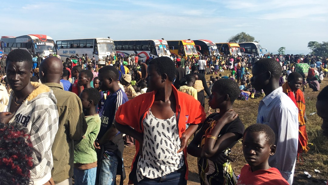 Seeking refuge from war and violence in their home countries: refugees at a camp in Uganda.